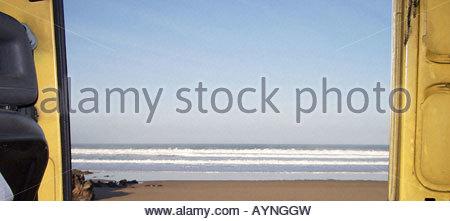 Camping beach Atlantic Ocean meets Sahara Desert Western Sahara area Morocco Africa 2007 - Stock Photo