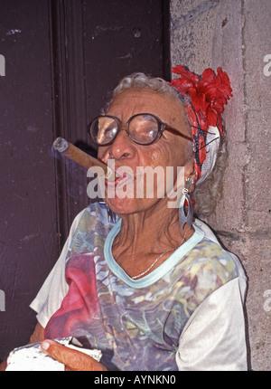 HAVANA, CUBA. An elderly cigar-smoking resident of old Havana. - Stock Photo