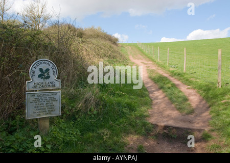 National Trust Sign on the South West Coast Path - Stock Photo