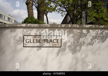 Road Sign Glebe Place London SW3 - Stock Photo