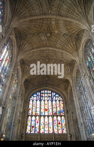 Fan vaulted ceiling and window, King's College Chapel, King's College, Cambridge, Cambridgeshire, England, United - Stock Photo