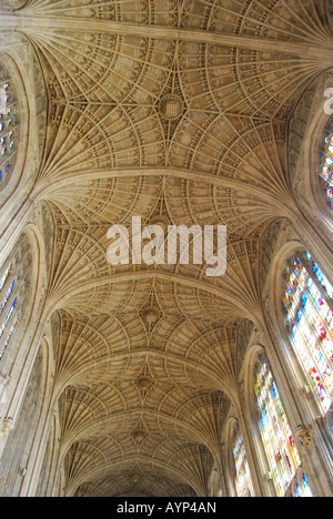 Fan vaulted ceiling, King's College Chapel, King's College, Cambridge, Cambridgeshire, England, United Kingdom - Stock Photo