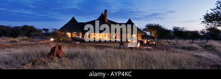 The Bush Suite at sunset One of the exclusive luxury lodges in Okonjima Private Game Reserve Namibia - Stock Photo