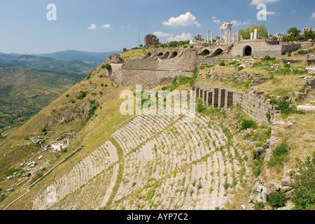 Antique theater in Acropolis of Pergamon Pergamum Bergama Western Turkey - Stock Photo