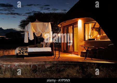 The Villa in Okonjima Private Game Reserve. Exclusive luxury bedroom Namibia - Stock Photo