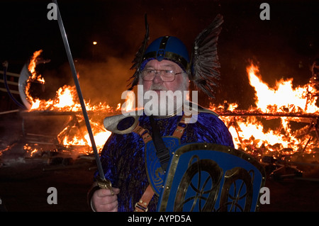 UK SCOTLAND, Shetland Islands, UP HELLY AA, Winter Viking Fire Festival, January 2005, LERWICK Man &  burning Viking - Stock Photo
