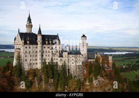 neuschwanstein castle in autumn - Stock Photo
