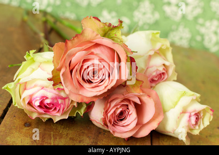 Bunch of roses on a table - Stock Photo