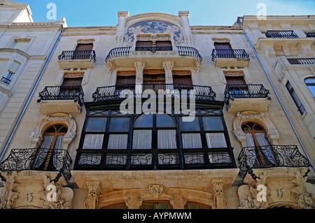 Art Nouveau building facade, Alcoy/Alcoi, Alicante, Spain - Stock Photo