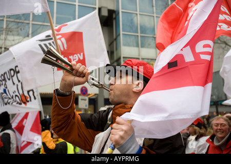 Ver.di Union walkout, warning strike demonstrations on February 21, 2008 in Berlin, Germany - Stock Photo