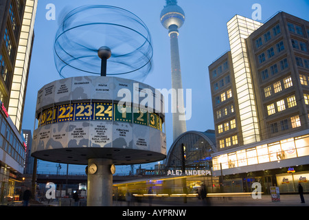 Alexanderplatz with world time clock, Berolina house, television tower, tram, Mitte, Berlin, Germany, Europe
