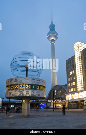 World time clock, television tower and Berolina house at the Alexanderplatz, Mitte, Berlin, Germany, Europe - Stock Photo