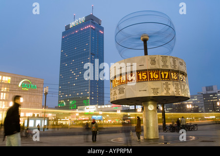 Galeria Kaufhof, Hotel Park Inn, tram and world time clock at the Alexanderplatz, Mitte, Berlin, Germany, Europe - Stock Photo