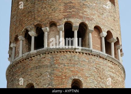Detail, church tower, Caorle, Adriatic region, Veneto, Italy - Stock Photo