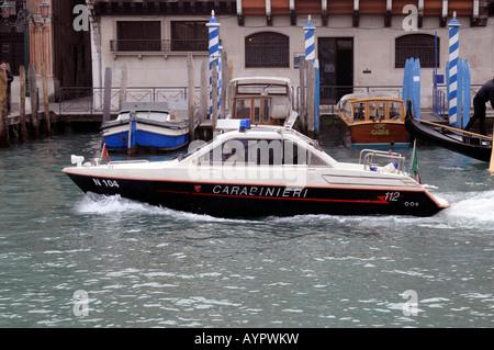 Carabinieri boat, Venice, Veneto, Italy, Europe - Stock Photo