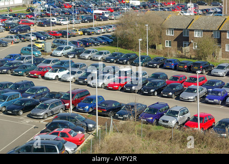 Semi aerial view of large hospital staff and visitor fee charging car park - Stock Photo