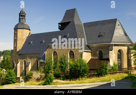 St. Laurentius Church, burial place of Hieronymus Lotter, Geyer, Ore Mountains, Saxony, Germany - Stock Photo