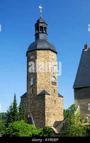 Church tower, St. Laurentius Church, burial place of Hieronymus Lotter, Geyer, Ore Mountains, Saxony, Germany - Stock Photo