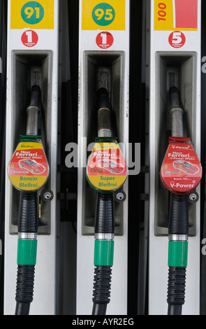 Fuel nozzles, gas pumps - Stock Photo