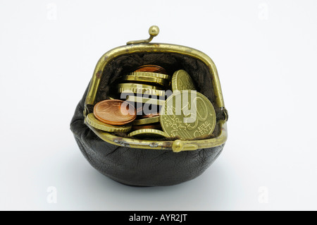 Change purse filled with Euro coins - Stock Photo