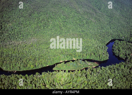 Aerial view of Gordon Rivers, Franklin Gordon Wild Rivers National Park, World Heritage Area, Tasmania, Australia - Stock Photo