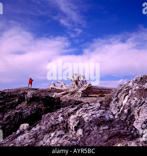 A Hiker standing on a Rocky Shore on the Pacific West Coast of Vancouver Island British Columbia Canada - Stock Photo