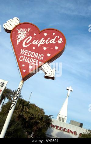 HEART SIGN INDICATING CUPID S WEDDING CHAPEL LAS VEGAS NEVADA UNITED STATES OF AMERICA USA - Stock Photo
