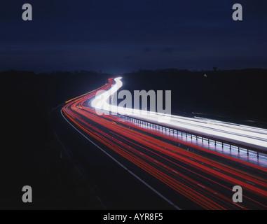 Traffic light trails on the M11 motorway Essex - Stock Photo