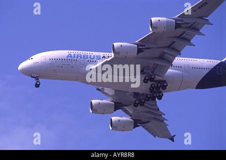 Airbus A380 on display at Farnborough International Airshow, UK. - Stock Photo