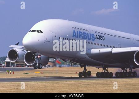 Airbus A380 landing at Farnborough International Airshow, UK. - Stock Photo