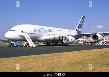 Airbus A380 being prepared for flight at Farnborough Airwshow - Stock Photo