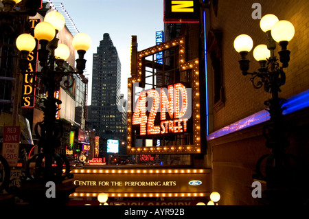 BEGINNING OF THE THEATER DISTRICT ON 42ND STREET IN MIDTOWN MANHATTAN NEW YORK CITY UNITED STATES OF AMERICA USA - Stock Photo