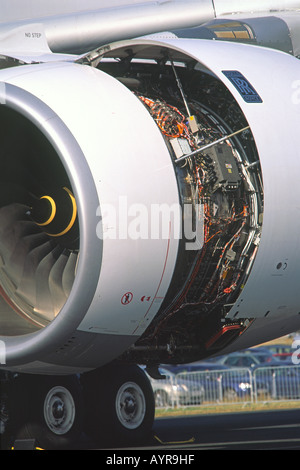 Rolls Royce Trent 900 jet engine detail on an Airbus A380 - Stock Photo