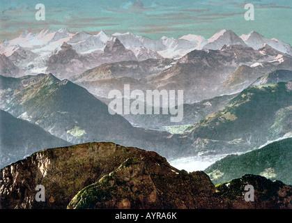 View from mount Pilatus to bernese mountains swiss alpes switzerland, 1890 to 1900 - Stock Photo