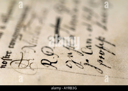 Historic, hand-written biblical script at a convent library, Germany - Stock Photo