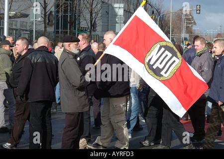 Demonstrators at far right demonstration Dresden Germany - Stock Photo