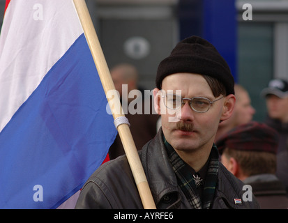 Far right demonstrator in Dresden Germany - Stock Photo