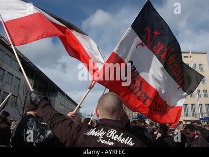 Far right demonstrators flags at Dresden demonstration - Stock Photo