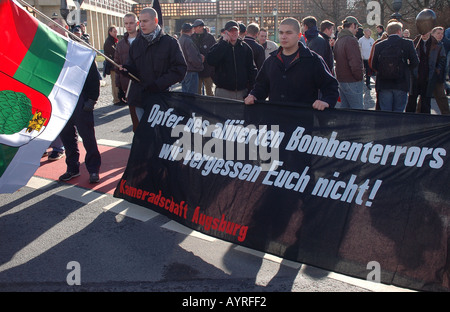 Far right demonstrators carry banner that says Victims of Allied Bombing Terror We Won t Forget You Dresden Germany - Stock Photo