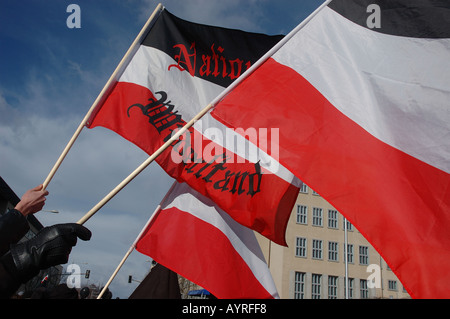 Flags at far right demonstration Dresden - Stock Photo