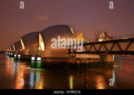 Thames Barrier, flood barrier, Greenwich, London, England, UK - Stock Photo