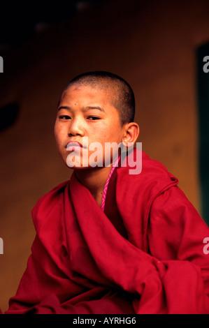 Portrait of a young buddhist monk, Bhutan - Stock Photo