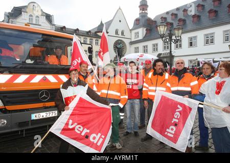 Warning strike, German union members, Koblenz, Rhineland-Palatinate, Germany, Europe - Stock Photo