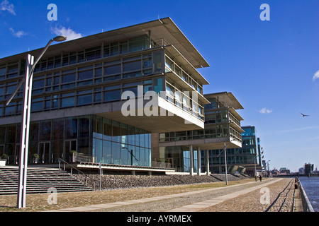 Modern office buildings along the Elbe River, Neumuehlen district, Hamburg, Germany - Stock Photo