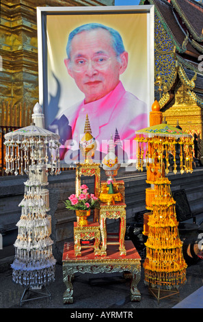 Altar and picture of Thai King Bhumiphol Adulyadej, Wat Phra That Doi Suthep Temple, Chiang Mai, Thailand, Southeast - Stock Photo