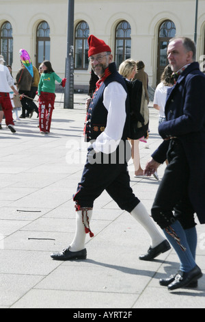 Man walking in a traditional Norwegian Costume Bunad on the 17th of May in Oslo Norway - Stock Photo