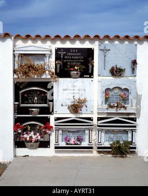 Spain, Fuerteventura, Canary Islands, E-Antigua, Canarian churchyard - Stock Photo