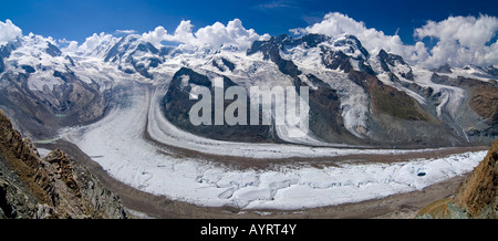 Monte Rosa Massif, Mt. Lyskamm and glacier viewed from Mt. Gronergrat, Zermatt, Valais, Switzerland - Stock Photo