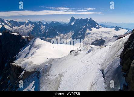 Panoramic mountainscape, Mt. Aiguille du Midi, Mont Blanc Massif, Chamonix, France - Stock Photo