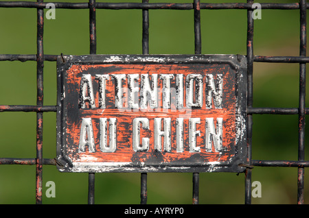 Attention Au Chien sign in France - Stock Photo